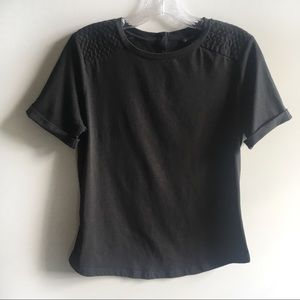 Ann Taylor t-shirt black short sleeves cuffed
